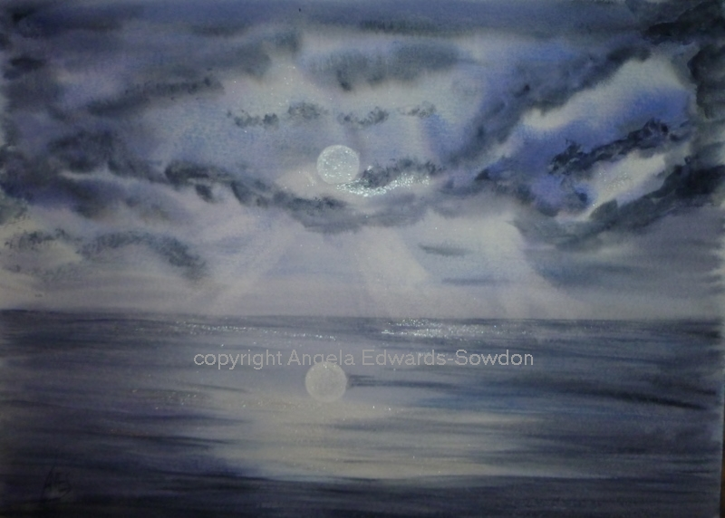 full moon on seascape